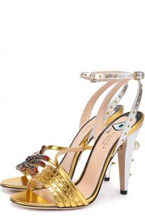 Кожаные босоножки Wangy с декором Gucci