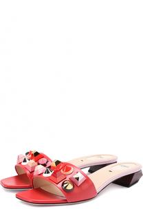 Кожаные сабо с декором Fendi
