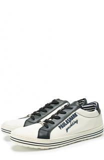 Текстильные кроссовки на шнуровке с отделкой из натуральной кожи Paul&Shark Paul&Shark