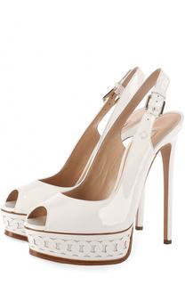 Лаковые туфли с открытым мысом на шпильке Casadei
