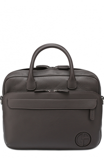 Кожаная сумка для ноутбука с внешним карманом на молнии и плечевым ремнем Giorgio Armani