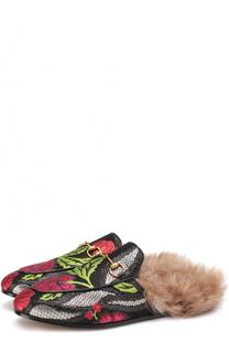 Сабо Princetown из текстиля с цветочной вышивкой Gucci