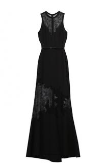 Платье-макси с поясом и кружевными вставками Elie Saab