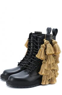 Кожаные ботинки с кисточками Burberry