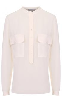 Шелковая блуза с накладными карманами и воротником-стойкой Stella McCartney