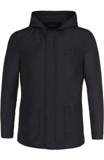 Куртка с добавлением шелка на молнии с капюшоном Kiton