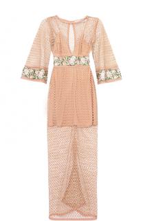 Полупрозрачное платье-миди с цветочной отделкой Alice McCall