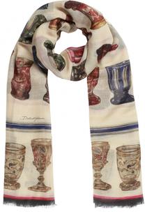 Шарф с принтом из смеси кашемира и шелка Dolce & Gabbana