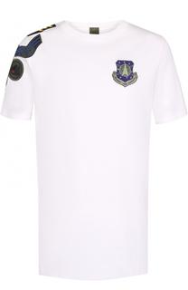 Хлопковая футболка с контрастными нашивками Mr&Mrs Italy