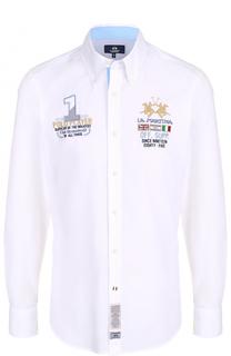 Хлопковая рубашка с воротником button down La Martina