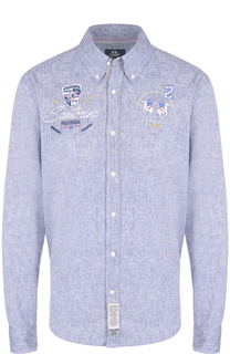 Рубашка из смеси хлопка и льна с воротником button down La Martina
