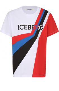 Хлопковая футболка с контрастным принтом Iceberg