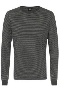 Джемпер с круглым вырезом из смеси шерсти и хлопка BOSS