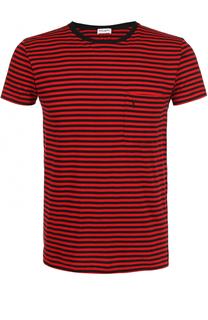 Хлопковая футболка в контрастную полоску Saint Laurent