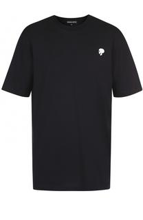 Хлопковая футболка свободного кроя с контрастной отделкой Markus Lupfer