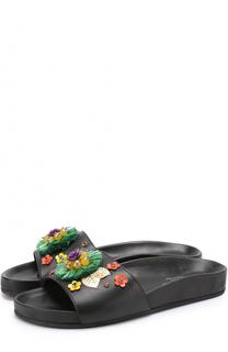 Кожаные шлепанцы с декором Dolce & Gabbana