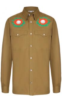 Хлопковая рубашка с контрастными аппликациями Stella McCartney