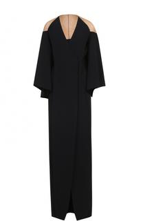 Платье-макси с запахом и длинными широкими рукавами Balmain