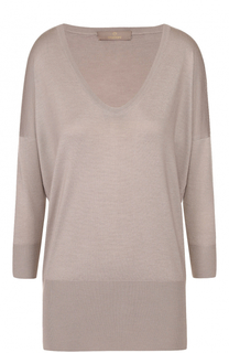 Кашемировый пуловер с укороченным рукавом и V-образным вырезом Cruciani