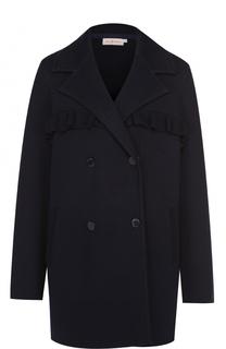 Двубортное пальто прямого кроя с оборкой Tory Burch