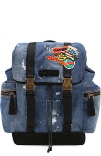 Рюкзак из денима с нашивками Dsquared2
