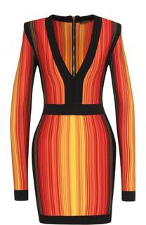 Платье-футляр в контрастную полоску V-образным вырезом Balmain