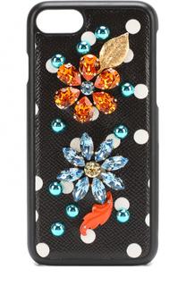 Кожный чехол для iPhone 7 с принтом и декором Dolce & Gabbana