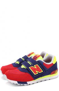 Комбинированные кроссовки 574 с застежкой велькро New Balance