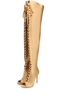 Атласные ботфорты Marie на шнуровке Gianvito Rossi