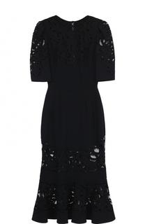 Приталенное платье с юбкой годе с полупрозрачными вставками Dolce & Gabbana