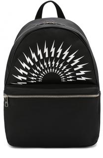 Текстильный рюкзак с принтом и отделкой из натуральной кожи Neil Barrett