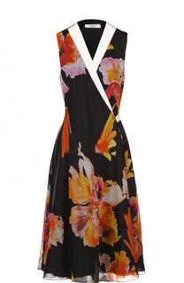 Шелковое платье-миди с запахом и цветочным принтом Lanvin