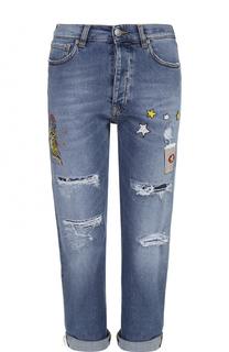 Укороченные джинсы с контрастными нашивками и отворотами Two Women In The World