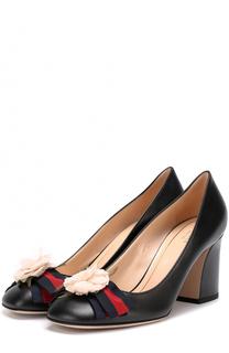 Кожаные туфли Cindi с цветочной аппликацией Gucci