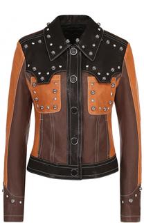 Укороченная кожаная куртка с декоративной отделкой DROMe