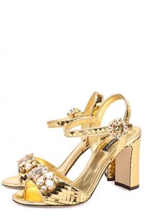 Босоножки Keira из фактурной кожи с кристаллами Dolce & Gabbana