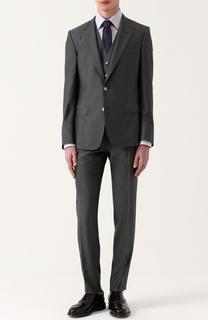 Костюм-тройка из смеси шерсти и шелка с контрастной прострочкой Dolce & Gabbana