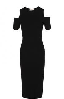 Платье-футляр с круглым вырезом и открытыми плечами MICHAEL Michael Kors