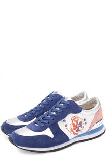 Комбинированные кроссовки с вышивкой Tory Burch