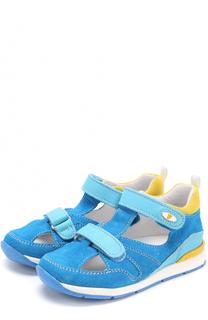 Замшевые сандалии с застежками велькро и отделкой из кожи Falcotto