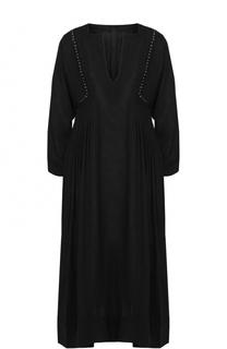 Платье-миди свободного кроя с V-образным вырезом и декоративной отделкой Isabel Marant Etoile