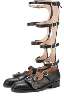 Кожаные ботинки-гладиаторы Queercore Gucci