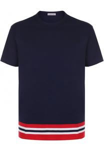 Хлопковая футболка с контрастной отделкой Moncler