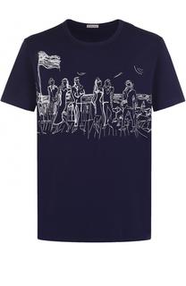 Хлопковая футболка с контрастной вышивкой Moncler