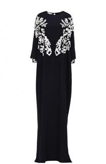 Шелковое платье-макси с контрастной кружевной отделкой Oscar de la Renta