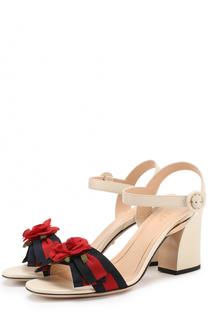 Кожаные босоножки Cindi с цветочной аппликацией Gucci