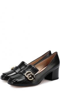Кожаные туфли Marmont с бахромой и пряжкой Gucci