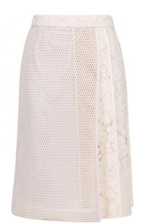 Кружевная юбка А-силуэта с перфорированной вставкой Tara Jarmon