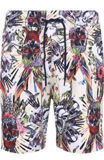 Хлопковые шорты свободного кроя с принтом Frankie Morello