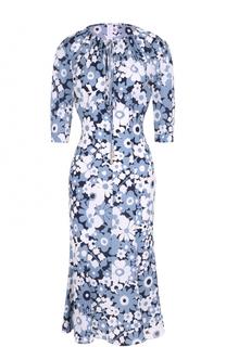 Шелковое платье-миди с цветочным принтом и укороченным рукавом Michael Kors
